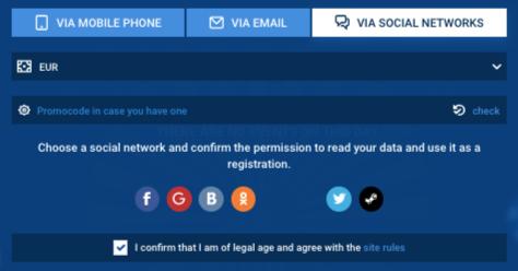 Register via social networks